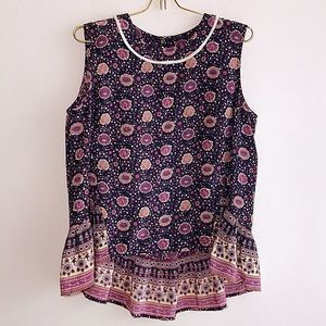 SEA silk top sleeveless ruffle blouse top Sz 8